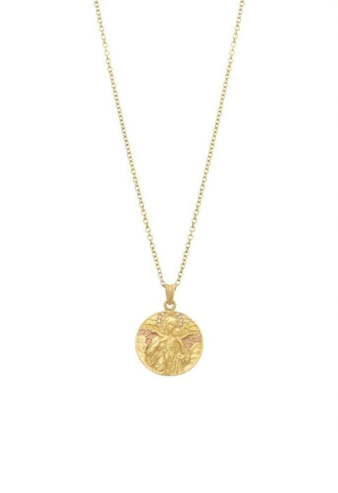Masriera~ Medal Pendant of Mother Mary & Baby Jesus (18k Yellow Gold) - Jewelry Designers Boston