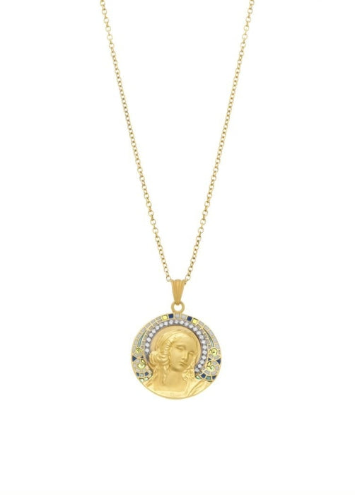 Masriera~ Medal Pendant of Woman (18K Yellow Gold) - Jewelry Designers Boston