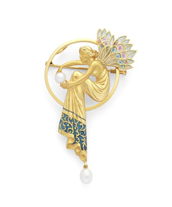 Masriera~ Nymphs Pearl Brooch (Yellow Gold) - Jewelry Designers Boston