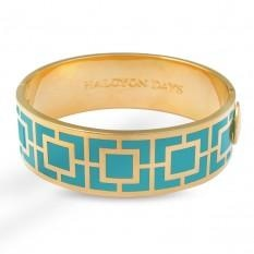Maya Turquoise & Gold Hinged Bangle - GIFTS Boston