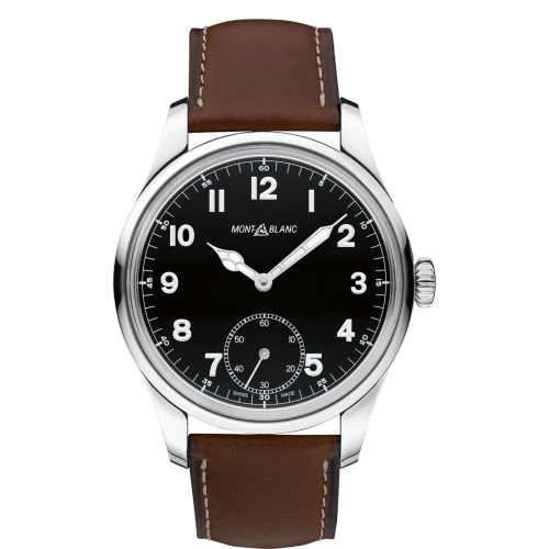 Montblanc 1858 Manual Small Second Stainless Steel/leather Strap 44Mm (112638) - Watches Boston
