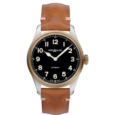 Montblanc 1858 Stainless Steel-Bronze/leather Strap 40Mm (117833) - Watches Boston