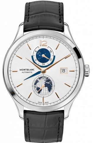 Montblanc Heritage Dual Time Chronometrie Stainless Steel/leather Strap 41Mm (113779) - Watches Boston