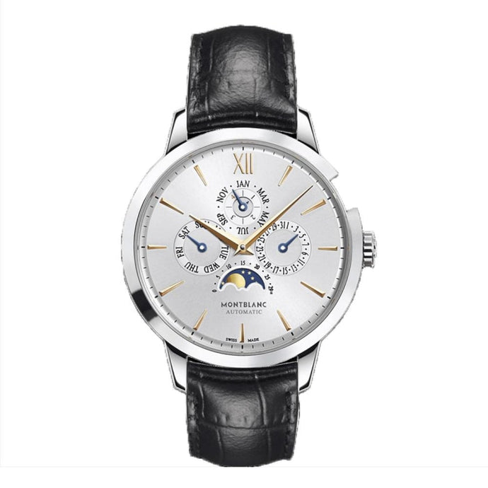 Montblanc Heritage Spirit Perpetual Calendar Stainless Steel/leather Strap 39Mm (110715) - Watches Boston