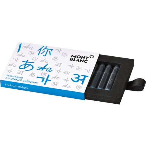 Montblanc Ink Cartridges Unicef Blue 2017 8 Per Package (116222) - Gifts Boston