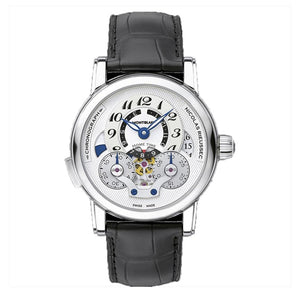 Montblanc Nicolas Rieussec Open Home Time Stainless Steel/leather Strap 43Mm Chronograph (111835) - Watches Boston