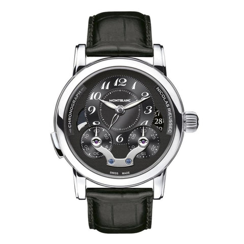Montblanc Nicolas Rieussec Stainless Steel/leather Strap 43Mm Chronograph (106488) - Watches Boston