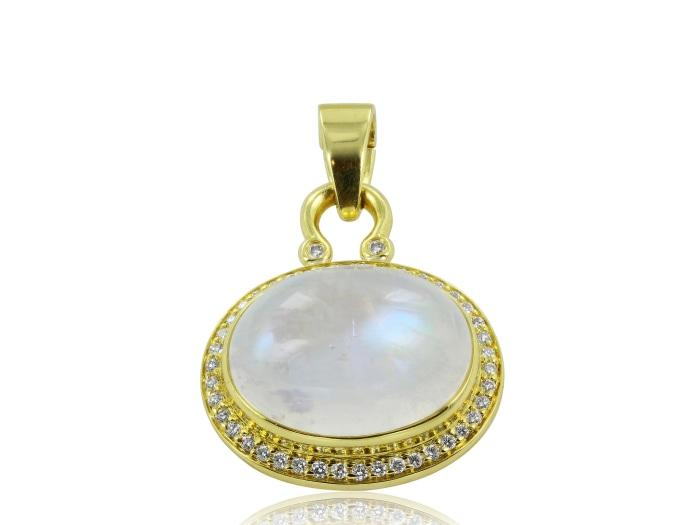 Moonstone and Diamond Pendant - Boston