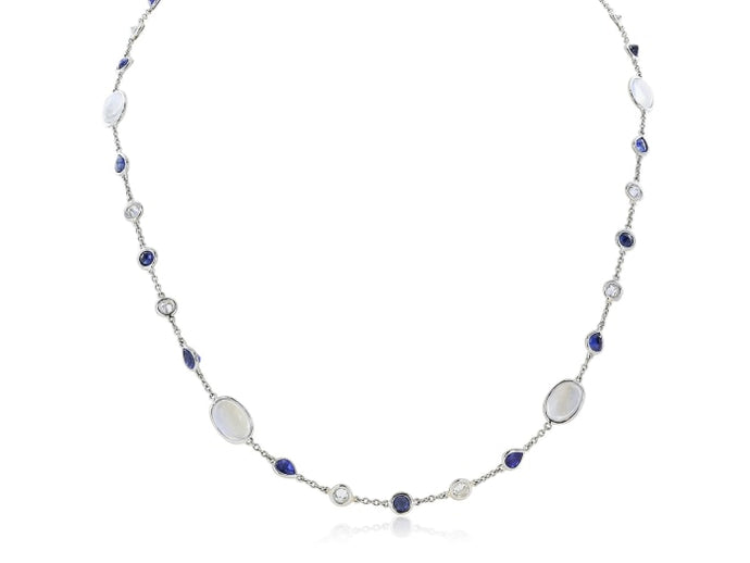 Moonstone Sapphire And Diamonds By The Yard Necklace (Platinum) - Jewelry Boston