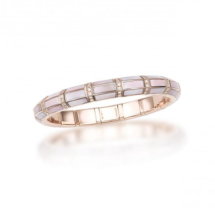 Mother of Pearl & Diamond Xpandable Bracelet (Two Tone) - Jewelry Designers Boston