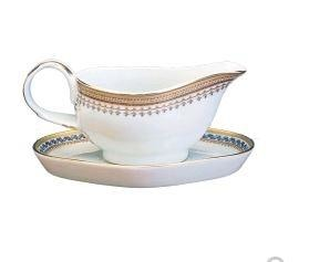 Mottahedeh Chinoise Blue Gravy Boat & Stand (1 Remaining) - Engagement Boston