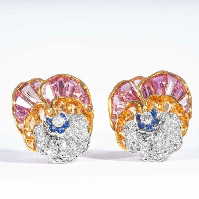 Topaz Citrine Sapphire and Diamond Pansy Clip Earrings signed Oscar Heyman Brothers - Boston