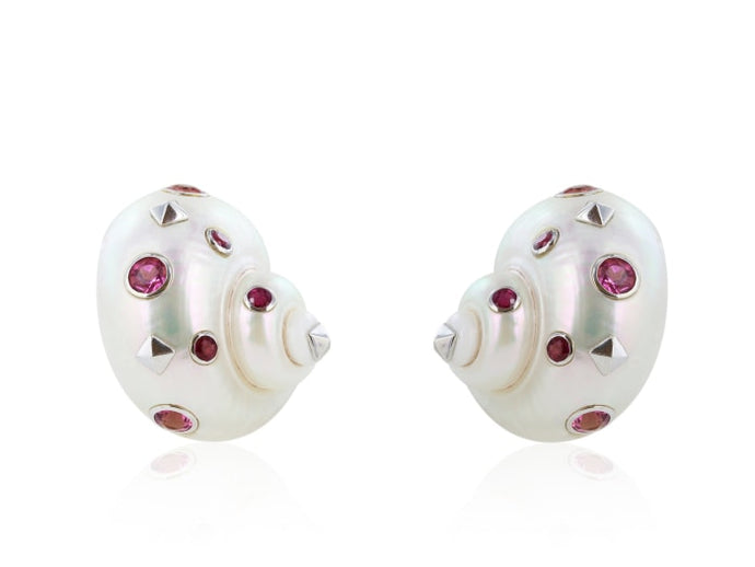 Multi-Gem Sea Shell Clip Earrings - Jewelry Boston
