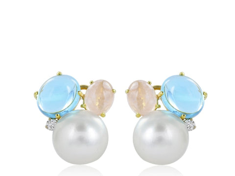 Multi Gemstone (Pearl Topaz & Quartz) Cluster Earrings - Jewelry Boston