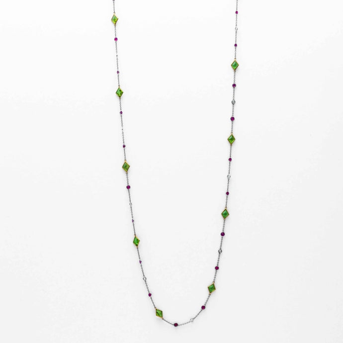 Multi Stone Diamonds By The Yard Style Necklace (Platinum) - JEWELRY Boston