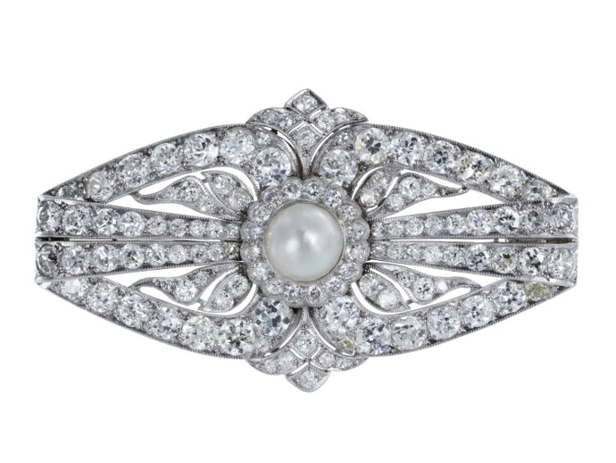 Natural Pearl & Diamond Art Deco Pin (Platinum) - JEWELRY Boston