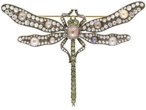 Natural Pearl & Diamond Vintage Style Dragonfly Pin (Two Tone) - JEWELRY Boston