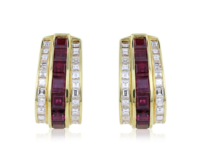 Natural Ruby & Diamond Channel Set Hoop Earrings (Yellow Gold) - JEWELRY Boston