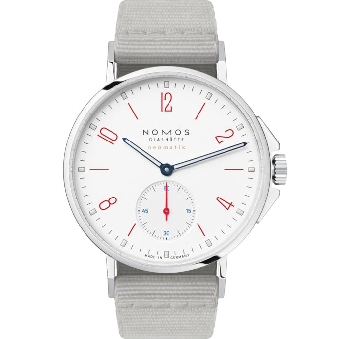 Nomos Glashuette Ahoi Neomatik Siren White 36mm Stainless Steel/Textile (Ref. 564) - WATCHES Boston