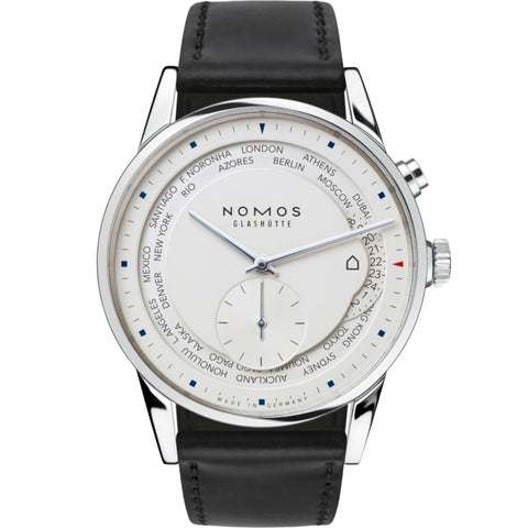 Nomos Glashuette LE Zurich World Timer 40mm Stainless Steel/Strap (Ref 805.2) - WATCHES Boston