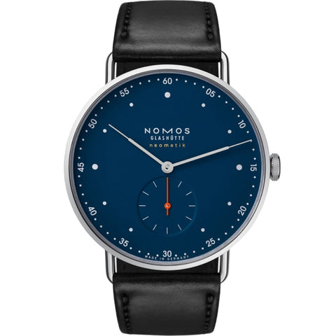 Nomos Glashuette Metro Neomatik Midnight Blue 39mm Stainless Steel/Strap (Ref. 1115) - WATCHES Boston