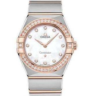 Omega Constellation Quartz 28mm Stainless Steel & Sedna Rose Gold (131.25.28.60.55.001) - WATCHES Boston
