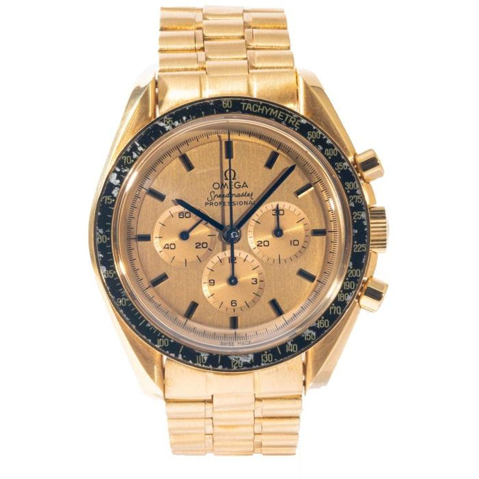 Omega Speedmaster Apollo XI Chronograph Yellow Gold 42mm (BA 345.0802) - RARE VINTAGE - Boston