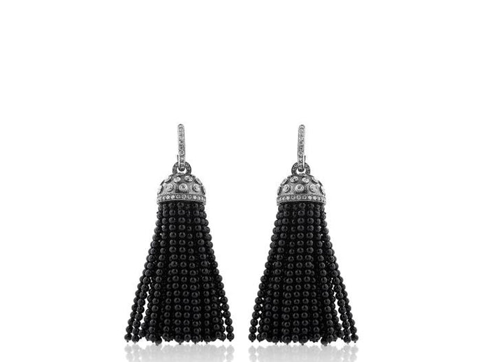 Onyx & Diamond Drop Earrings - Jewelry Boston