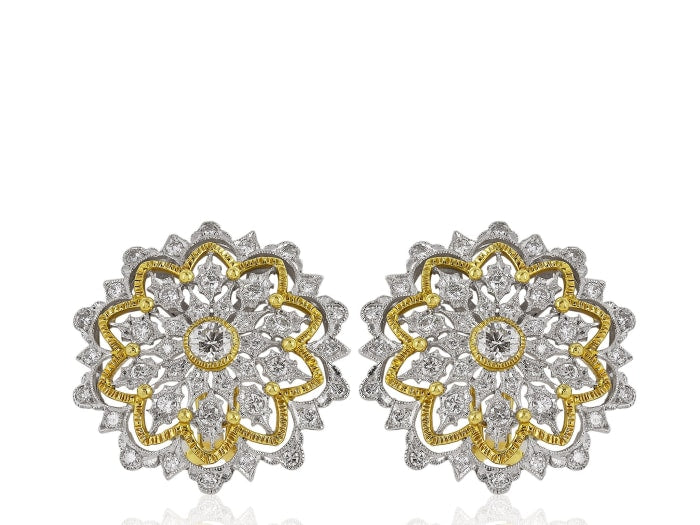 Open Work Diamond Buccellati Style Earrings - Jewelry Boston