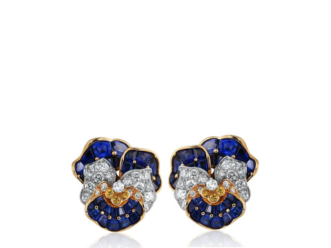 Oscar Herman Multi-Gem Pansy Earrings - Jewelry Boston