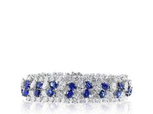 Oscar Heyman 22.78 Carat Diamond Bracelet W/ Sapphires (Platinum) - Jewelry Boston