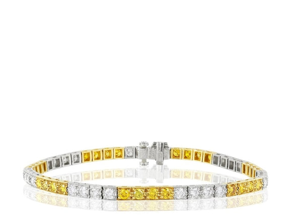 Oscar Heyman 3.46 Carat Canary & Colorless Diamond Bracelet (Platinum & 18K Yellow Gold) - Jewelry Boston