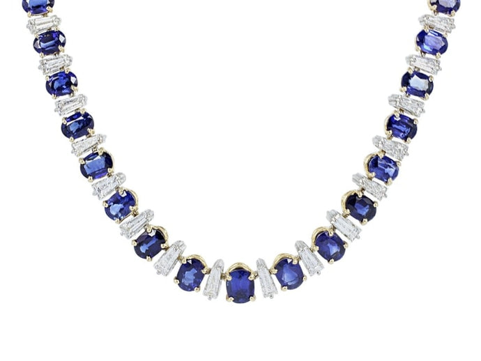 Oscar Heyman 68.00 Carat Ceylon Blue Sapphire Necklace W/ Diamonds (18K Yellow Gold)) - Jewelry Boston
