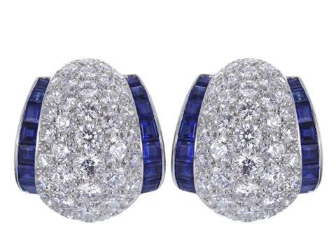 Oscar Heyman Diamond And Sapphire Earrings - Jewelry Boston