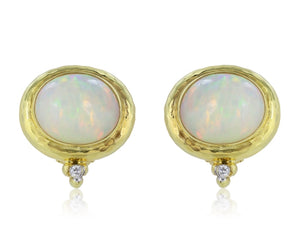 Oval Cabochon Opal & Diamond Hammered Earrings - Jewelry Boston
