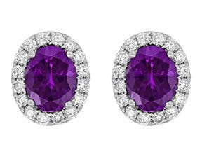 Oval Purple Garnet And Diamond Earrings - Jewelry Boston
