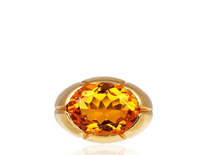 Oval Shape Citrine Ring (14K Yellow Gold) - Jewelry Boston