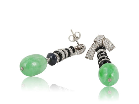 Patrick Mauboussin 32.56 Carat Jade Onyx & Diamond Earrings - Jewelry Boston