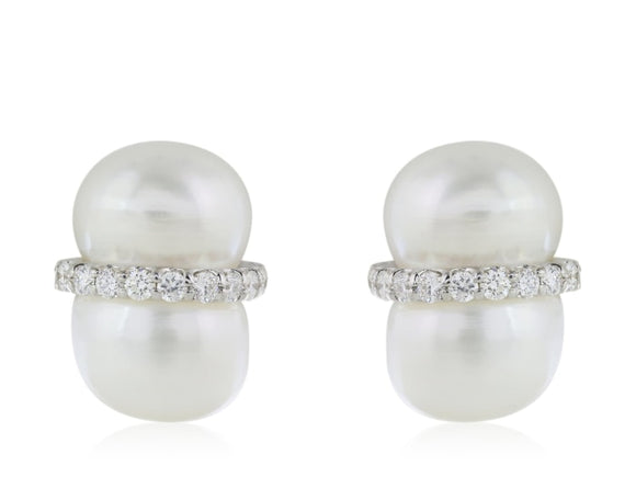 Peanut Pearl And Diamond Earrings - Jewelry Boston