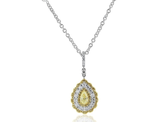 Pear Shape Canary Diamond Pendant Necklace (18K White Gold) - Jewelry Boston