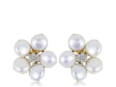 Pearl And Diamond Floral Motif Studs - Jewelry Boston