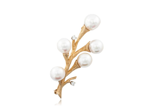 Pearl & Diamond Branch Pin (Yellow Gold) - JEWELRY Boston
