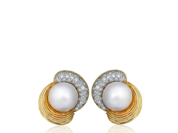 Pearl & Diamond Clip Earrings - Jewelry Boston