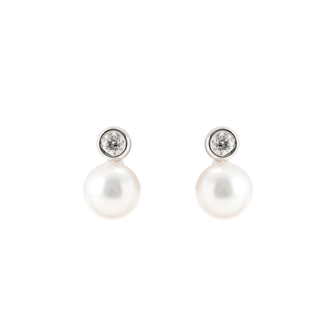 Pearl & Diamond Drop Earrings (14k White Gold) - JEWELRY Boston