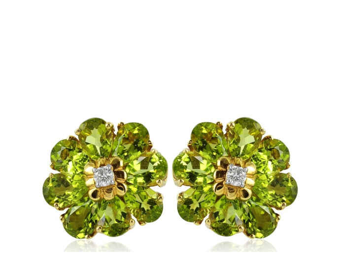 Peridot Flower Shape Earrings - Jewelry Boston
