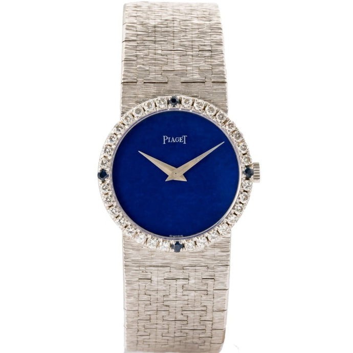 Piaget Blue Lapis Dial Diamond And Blue Sapphire Bezel White Gold Mesh Bracelet 24Mm Ladies Watch - Boston