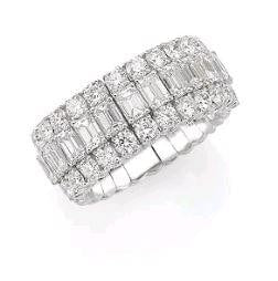 Picchiotti 4.93 Carat Expandable Halfway Band Diamond Ring (18K White Gold) - Jewelry Boston