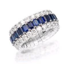 Picchiotti 5.09 Carat Expandable Eternity Style Sapphire Ring W/ Diamonds (18K White Gold) - Jewelry Boston