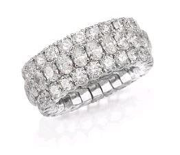 Picchiotti 7.48 Carat Expandable Eternity Style Diamond Ring (18K White Gold) - Jewelry Boston