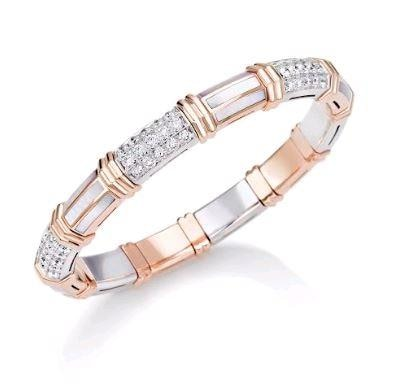 Picchiotti Expandable White Mother Of Pearl Bracelet W/ Diamonds (18K Pink Gold) - Jewelry Boston